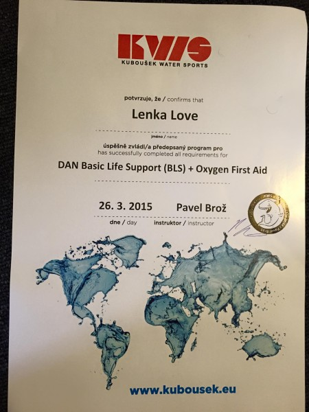 DAN Basic Life Support & Oxygen First Aid certification