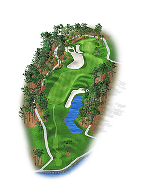 HOLE 1: PAR 4 | YARDS 423 A slight dogleg right requiring an exacting tee shot, with drives favoring the fairway's right side improving the angle into the green. Another 20 to 25 yards added to the championship tee since 2006 ratchets up the difficulty of clearing the landing area bunkers. Drives straying too far could find moguls added in the rough beyond the bunkers. New pine trees and oaks were added on both sides of the fairway. At the long and shallow green, the rear chipping area was enlarged and the bottom of the left bunker was dropped a foot deeper. Looking Back: 1983: Hal Sutton, the rookie of the year the previous season, begins a Monday final round four shots back. But he makes this the first of three straight birdies and six on the day, rallying for a 69 to nip Bob Eastwood by a stroke when overnight leader John Cook drives into the lake and makes double-bogey 6 at the 18th hole.