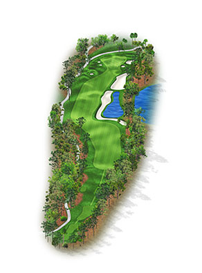 HOLE 2: PAR 5 | YARDS 532 It is the rare player in this field who does not have the length to reach this green in two, although plenty of challenges surround the green. In 2006 oak and pine trees added to the right rough pinch the landing area, with the second shot crossing the water and sand to a triangle-shaped green. If a player must lay up the fairway angle and width make for a greater challenge than most holes the tour sees. The back-left bunker '06 renovation is at least another foot deeper and the terrain behind the green was contoured to facilitate chipping areas, making for a testing up-and-down.