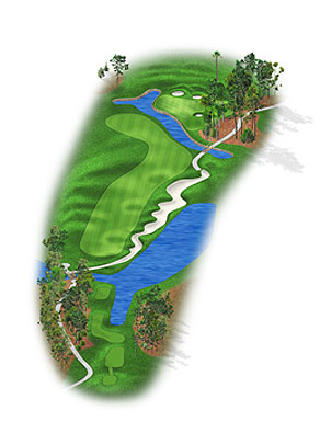 HOLE 4: PAR 4 | YARDS 384 Most players will hit tee shots with a fairway wood or long iron, but accuracy is paramount thanks to a deep fairway bunker right of the landing area and rough-covered knolls on the left. The approach, typically no more than a wedge, leads to a two-tier green with plenty of slopes that can feed balls toward some hole locations.