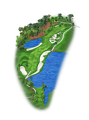 HOLE 5: PAR 4 | YARDS 471 The Stadium Course's longest par 4, and the hardest hole on the front nine, is a dogleg right where favoring the right side of the fairway — even straying into the bunker — often makes for an easier approach. The green is a mixture of waste bunkers and traditional sand traps and humps and hollows, all ringed by palm trees. Most hole locations are best attacked from the left side of the putting surface.
