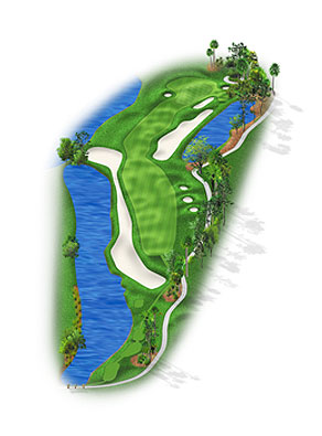 HOLE 7: PAR 4 | YARDS 442 The seventh ordinarily plays into the wind to one of the Stadium's most difficult greens to hit. The waste bunker-and-water combination on the left can become costly, and the trees jutting into the elbow of the dogleg right can menace wayward players. In 2006 even more oaks, pines and bunkers were tucked into the right rough. The smallish green runs away from the player with a sharp drop at the back. Two years ago the right-front bunker was deepened and the back-right bunker removed in favor of a chipping area.