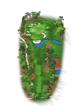 HOLE 8: PAR 3 | YARDS 237 A necklace of bunkers, some barely large enough for a player to take a stance, circle a long, thin putting surface with several severe contours. Although not a make-or-break test like the 17th, this hole can cause unwelcome late headaches for players who began the first or second round at the 10th tee. This fifth most difficult hole gained 15 yards in the '06 renovation.
