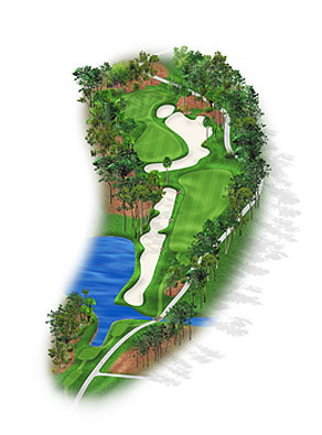 HOLE 10: PAR 4 | YARDS 424 The waste bunker crossing the fairway acts as a collar on players who might otherwise blast away from the tee. The green has tangled rough on the left and humps on the right. The green is contoured and, from the fairway, is an optical illusion: the front much narrower than a back half feeding away from the fairway. For a hole of this length it's surprisingly difficult (seventh overall).