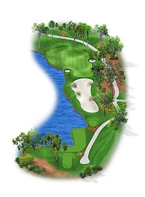 HOLE 13: PAR 3 | YARDS 181 This green may remind some people of the 16th at Augusta National GC, where a ridge feeds balls down toward the water. Three tiers demand precise tee shots, as do two deep bunkers without much wiggle room.