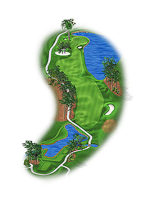 HOLE 16: PAR 5 | YARDS 523 The drive must be threaded to a spot where the fairway pivots left between trees. The water is an obvious impediment not only for players trying to reach in two from the rough but for anyone looking to punch out from the left trees. The green moves toward the water; long shots, especially in firm conditions, can still make a splash. As with the par-5 11th, it's a risk-reward dream—for the viewer.